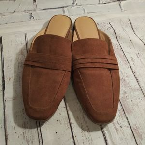 Brown suede slip on womans shoe